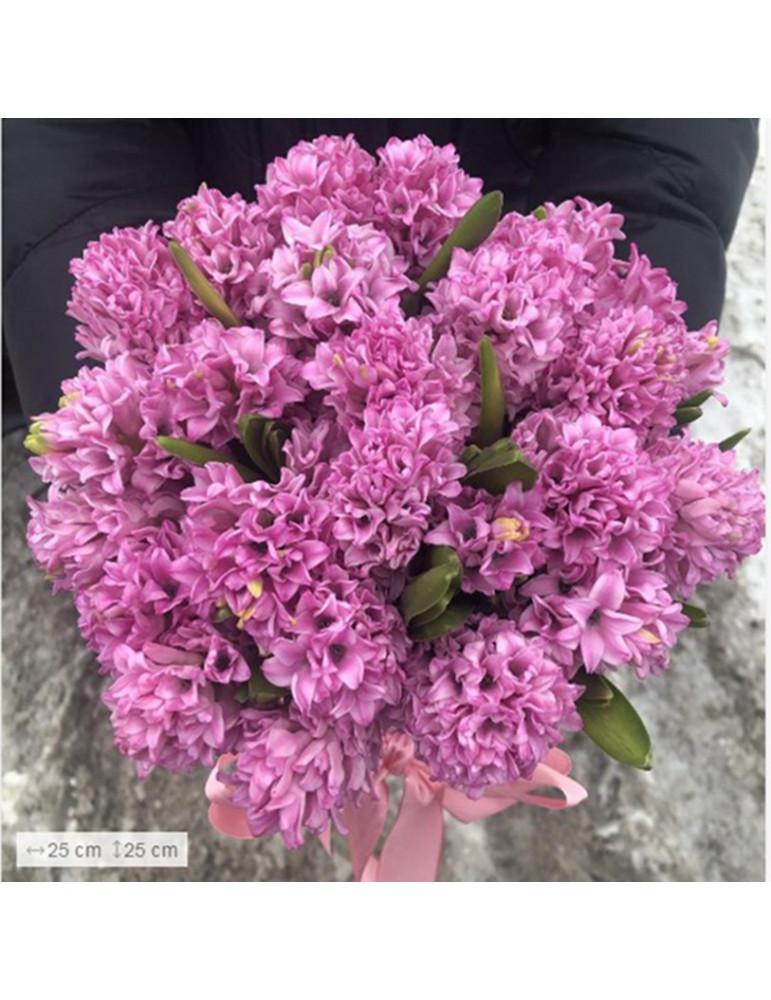 25 розовых гиацинтов в шляпной коробочке