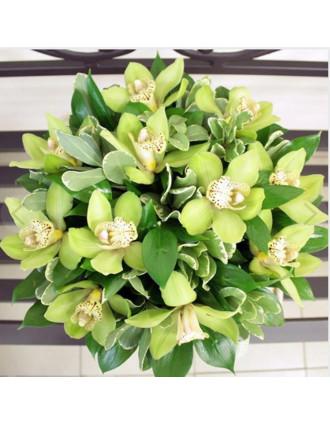 Zaļas orhidejas cepuru kārbā