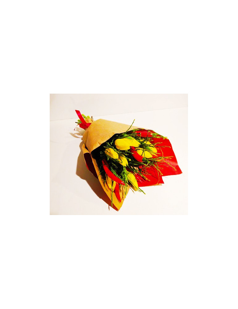 Bouquet of tulips & red pepper