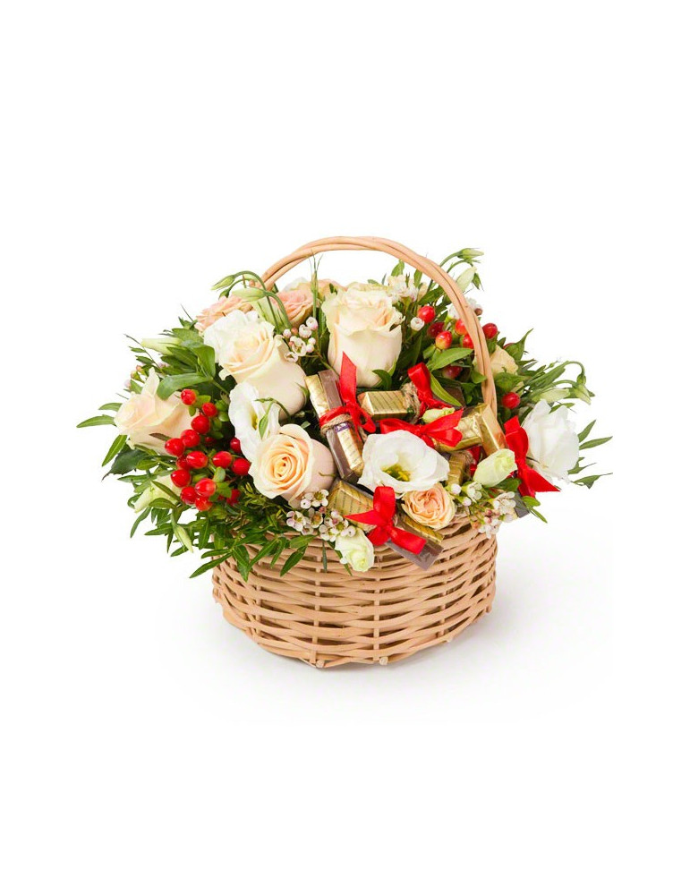 Basket of flowers & chocolate