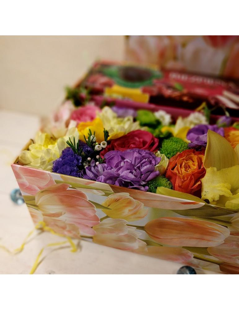 Ziedu kārba & Biezpiena torte