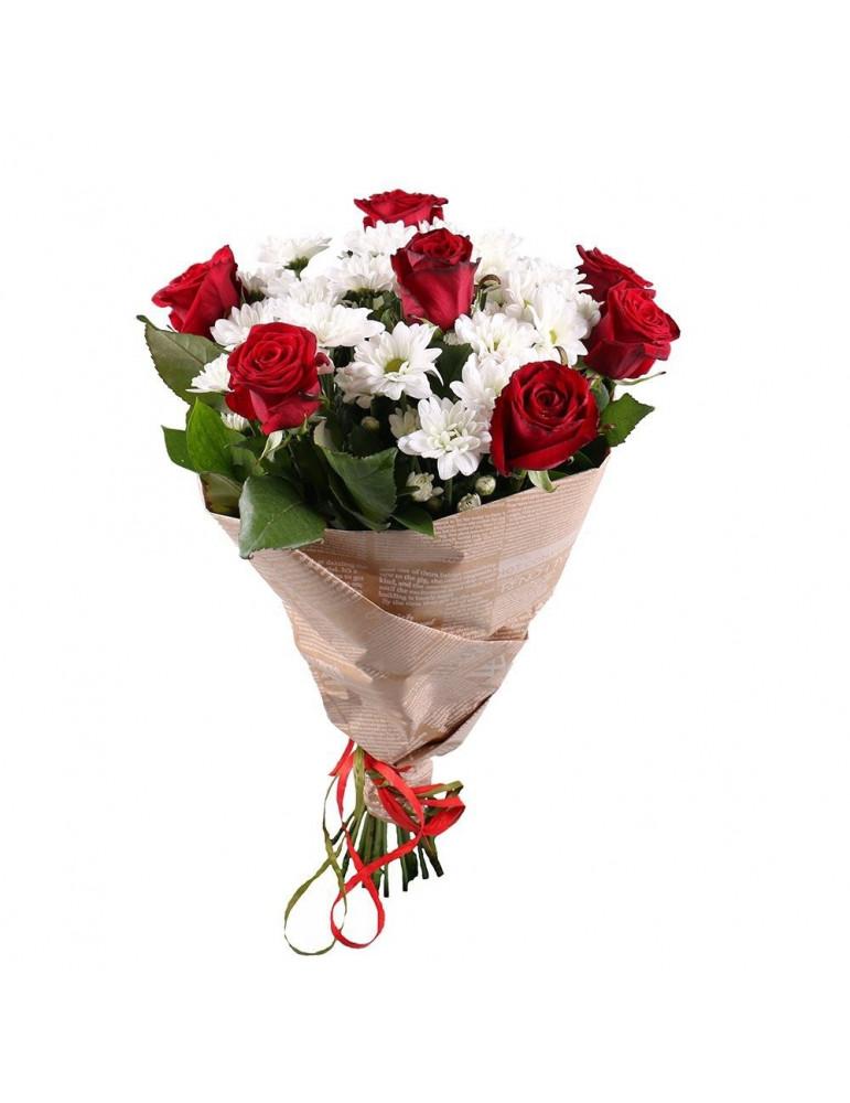 Rožu un krizantēmu pušķis Olita